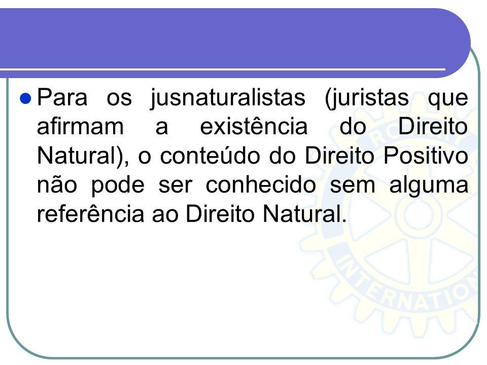 Para os jusnaturalistas (juristas que afirmam a existência do Direito Natural), o conteúdo do Direito Positivo não pode ser conhecido sem alguma refer