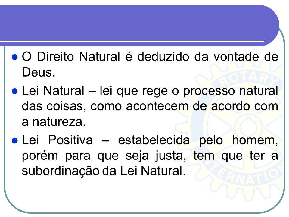 O Direito Natural é deduzido da vontade de Deus. Lei Natural – lei que rege o processo natural das coisas, como acontecem de acordo com a natureza. Le