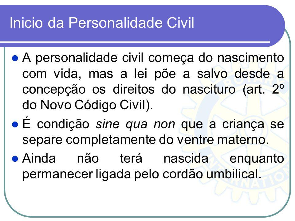 Inicio da Personalidade Civil A personalidade civil começa do nascimento com vida, mas a lei põe a salvo desde a concepção os direitos do nascituro (a
