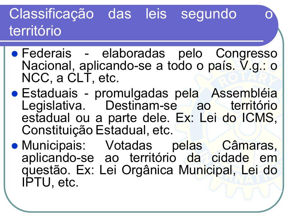 Classificação das leis segundo o território Federais - elaboradas pelo Congresso Nacional, aplicando-se a todo o país. V.g.: o NCC, a CLT, etc. Estadu