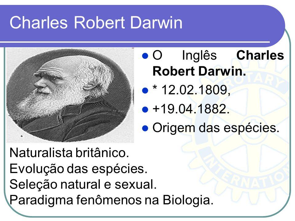 Charles Robert Darwin O Inglês Charles Robert Darwin. * 12.02.1809, +19.04.1882. Origem das espécies. Naturalista britânico. Evolução das espécies. Se