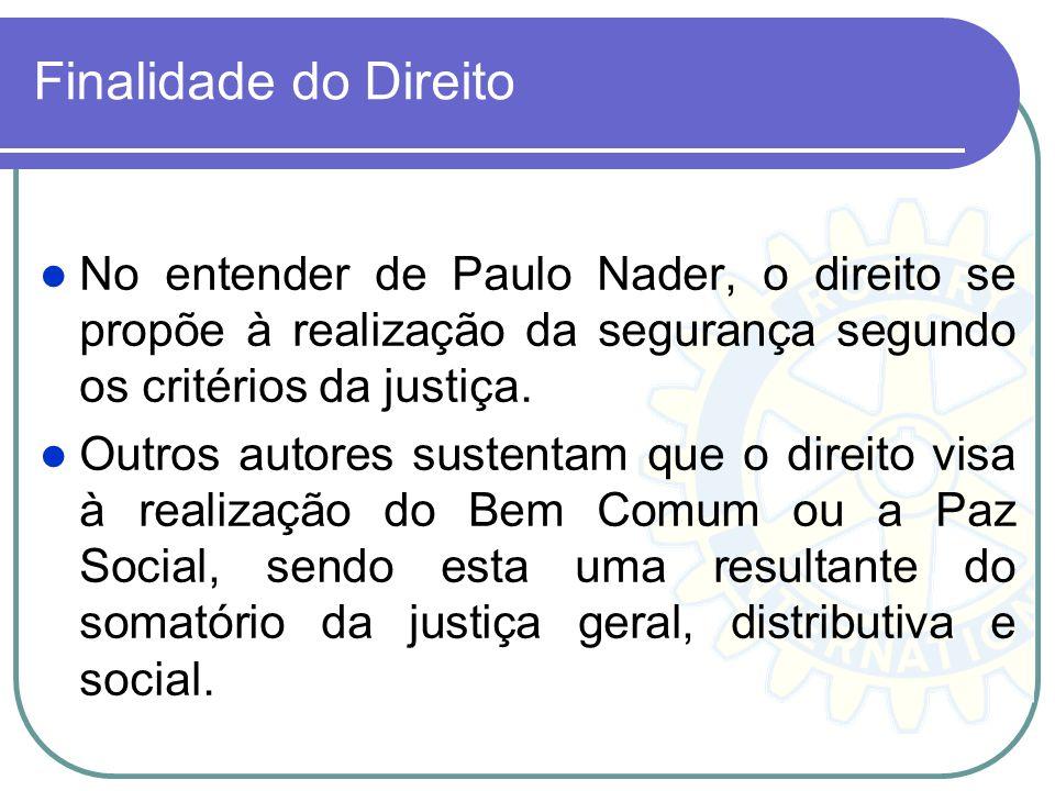 Finalidade do Direito No entender de Paulo Nader, o direito se propõe à realização da segurança segundo os critérios da justiça. Outros autores susten