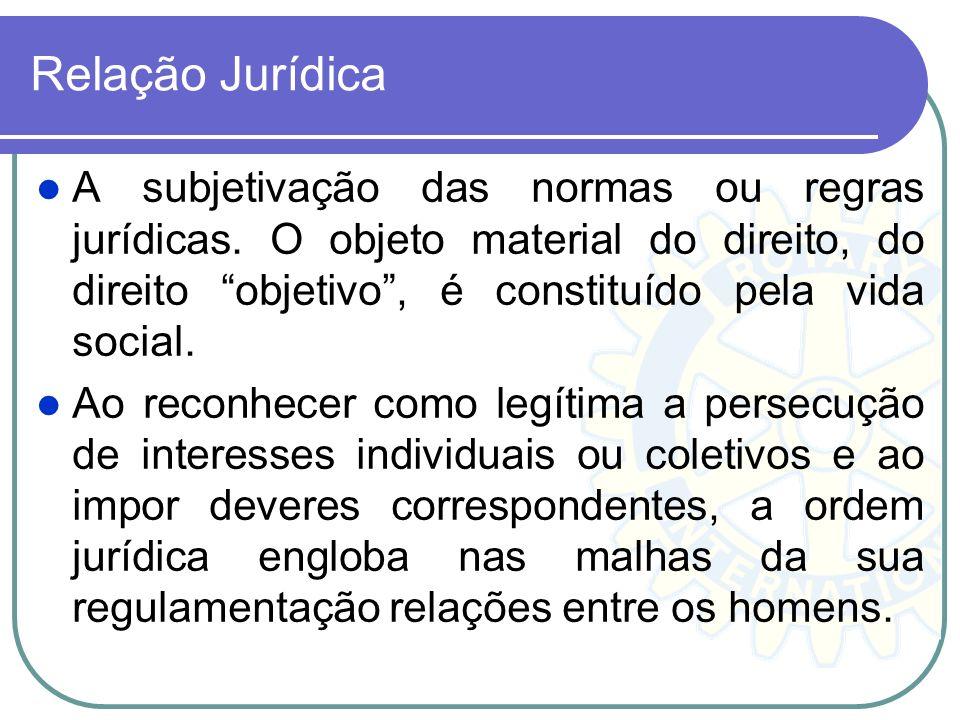 Relação Jurídica A subjetivação das normas ou regras jurídicas. O objeto material do direito, do direito objetivo, é constituído pela vida social. Ao
