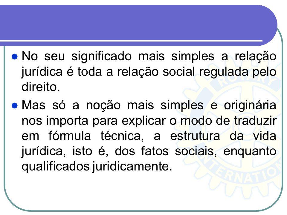 No seu significado mais simples a relação jurídica é toda a relação social regulada pelo direito. Mas só a noção mais simples e originária nos importa