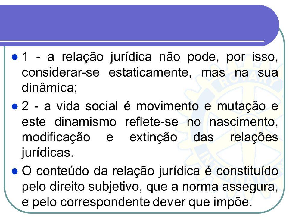 1 - a relação jurídica não pode, por isso, considerar-se estaticamente, mas na sua dinâmica; 2 - a vida social é movimento e mutação e este dinamismo