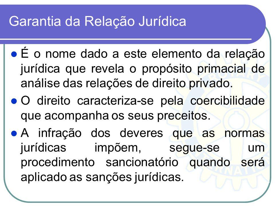 Garantia da Relação Jurídica É o nome dado a este elemento da relação jurídica que revela o propósito primacial de análise das relações de direito pri