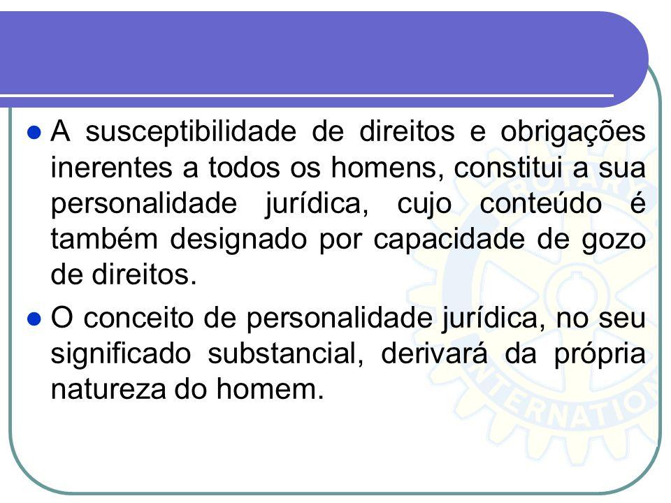 A susceptibilidade de direitos e obrigações inerentes a todos os homens, constitui a sua personalidade jurídica, cujo conteúdo é também designado por