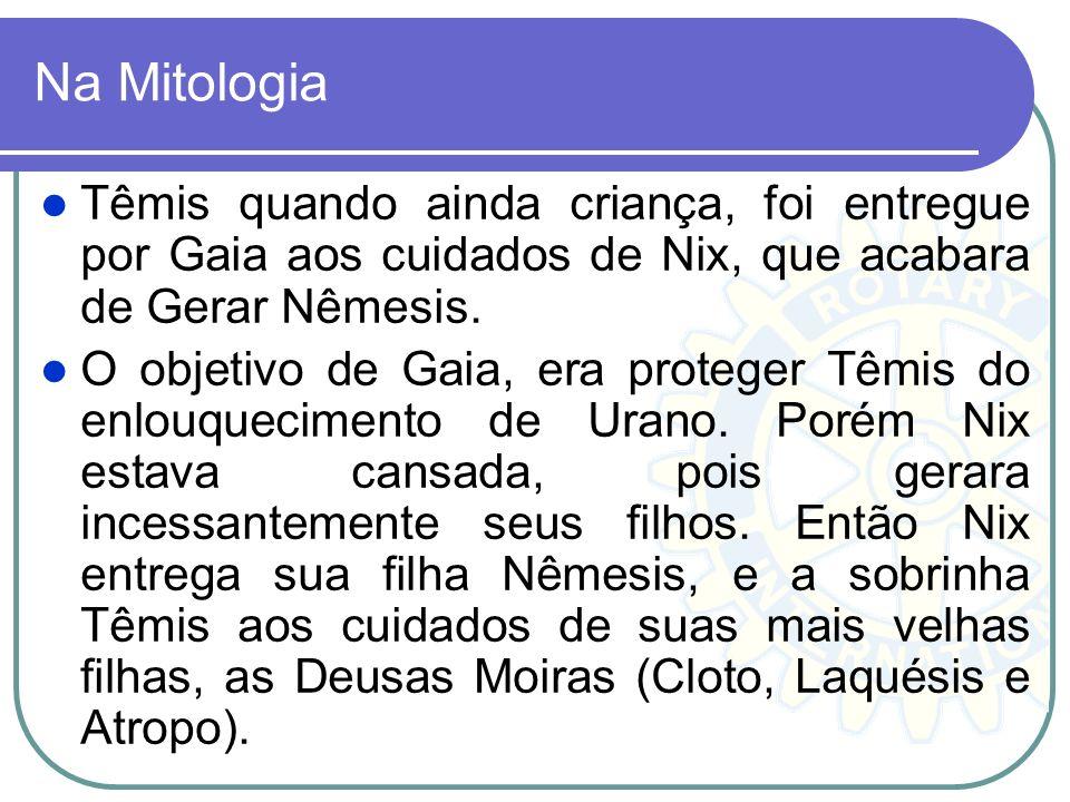 Na Mitologia Têmis quando ainda criança, foi entregue por Gaia aos cuidados de Nix, que acabara de Gerar Nêmesis. O objetivo de Gaia, era proteger Têm