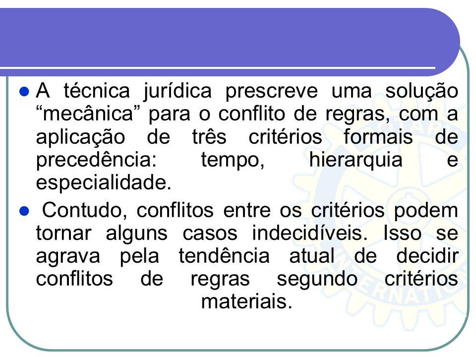 A técnica jurídica prescreve uma solução mecânica para o conflito de regras, com a aplicação de três critérios formais de precedência: tempo, hierarqu