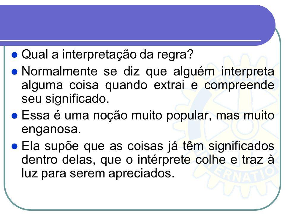 Qual a interpretação da regra? Normalmente se diz que alguém interpreta alguma coisa quando extrai e compreende seu significado. Essa é uma noção muit