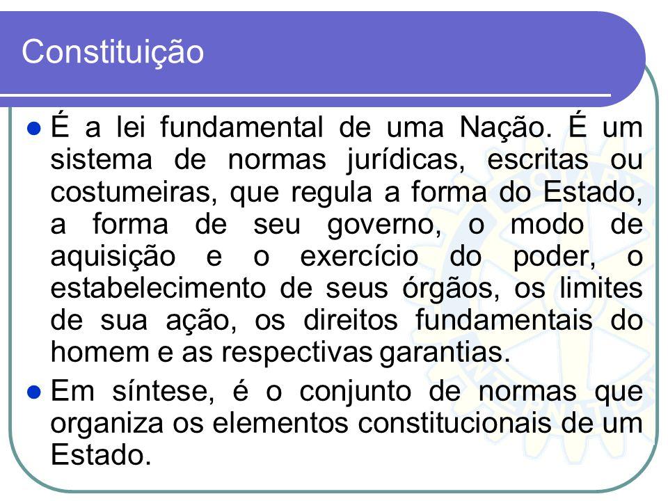 Constituição É a lei fundamental de uma Nação. É um sistema de normas jurídicas, escritas ou costumeiras, que regula a forma do Estado, a forma de seu