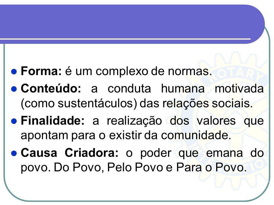 Forma: é um complexo de normas. Conteúdo: a conduta humana motivada (como sustentáculos) das relações sociais. Finalidade: a realização dos valores qu
