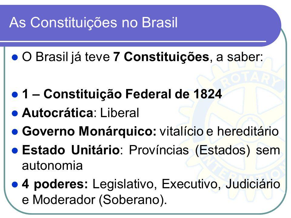 As Constituições no Brasil O Brasil já teve 7 Constituições, a saber: 1 – Constituição Federal de 1824 Autocrática: Liberal Governo Monárquico: vitalí