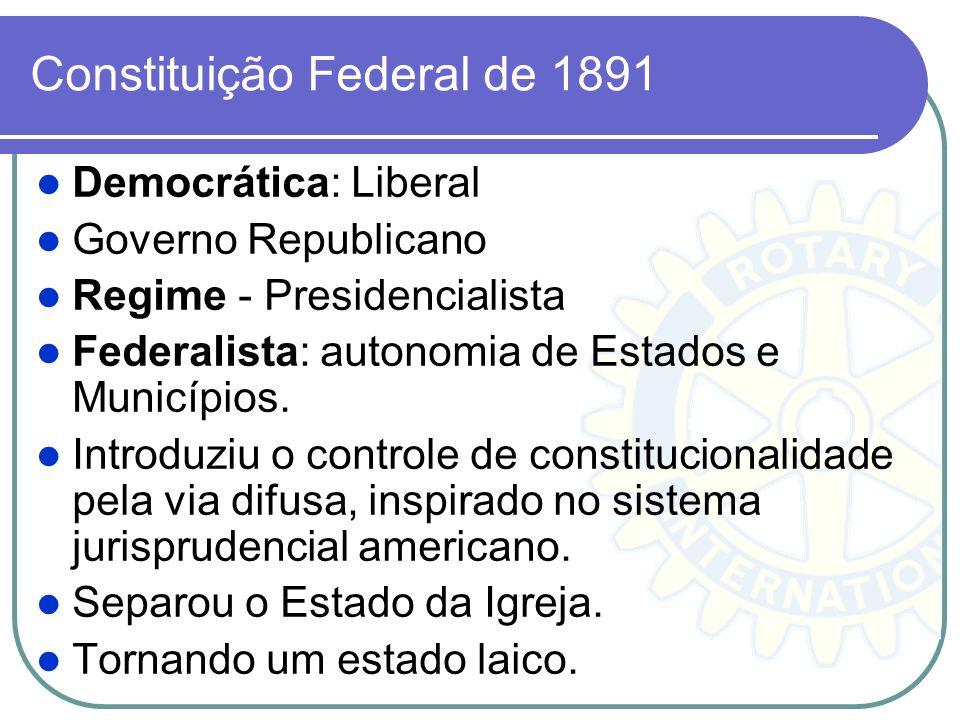 Constituição Federal de 1891 Democrática: Liberal Governo Republicano Regime - Presidencialista Federalista: autonomia de Estados e Municípios. Introd