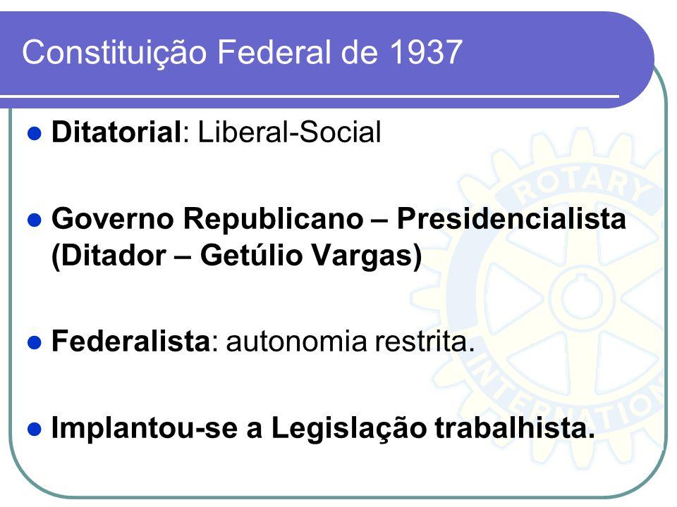 Constituição Federal de 1937 Ditatorial: Liberal-Social Governo Republicano – Presidencialista (Ditador – Getúlio Vargas) Federalista: autonomia restr
