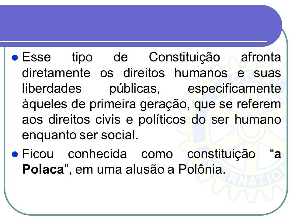 Esse tipo de Constituição afronta diretamente os direitos humanos e suas liberdades públicas, especificamente àqueles de primeira geração, que se refe