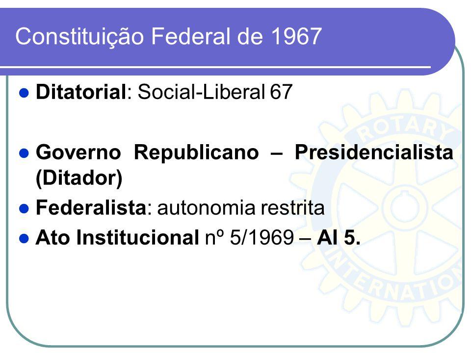 Constituição Federal de 1967 Ditatorial: Social-Liberal 67 Governo Republicano – Presidencialista (Ditador) Federalista: autonomia restrita Ato Instit