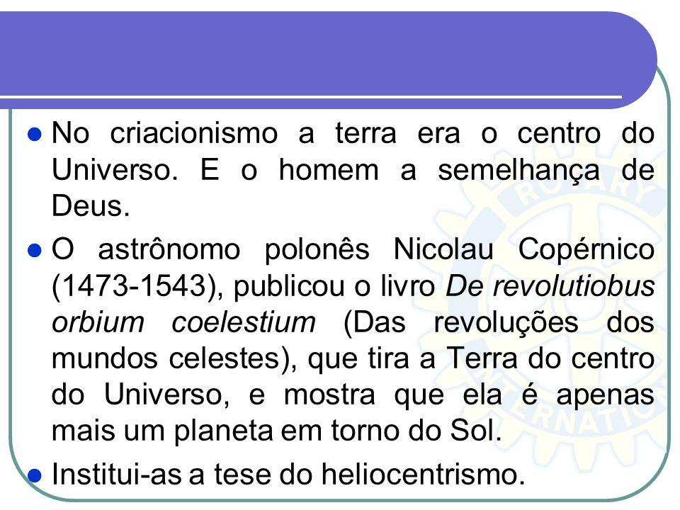No criacionismo a terra era o centro do Universo. E o homem a semelhança de Deus. O astrônomo polonês Nicolau Copérnico (1473-1543), publicou o livro