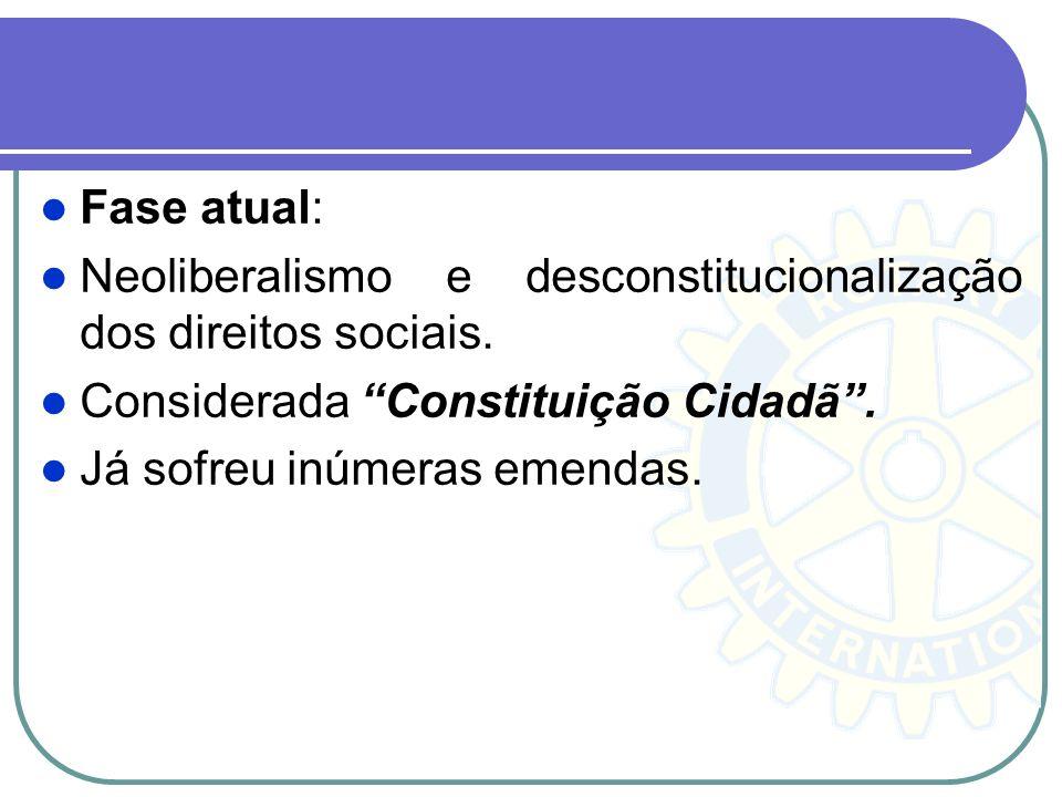 Fase atual: Neoliberalismo e desconstitucionalização dos direitos sociais. Considerada Constituição Cidadã. Já sofreu inúmeras emendas.