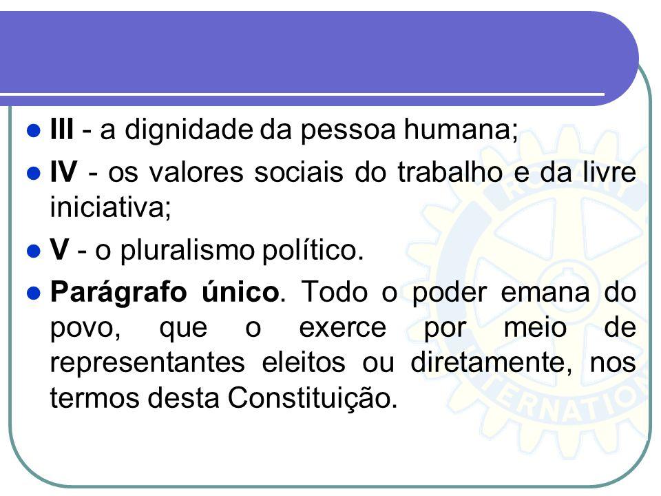 III - a dignidade da pessoa humana; IV - os valores sociais do trabalho e da livre iniciativa; V - o pluralismo político. Parágrafo único. Todo o pode