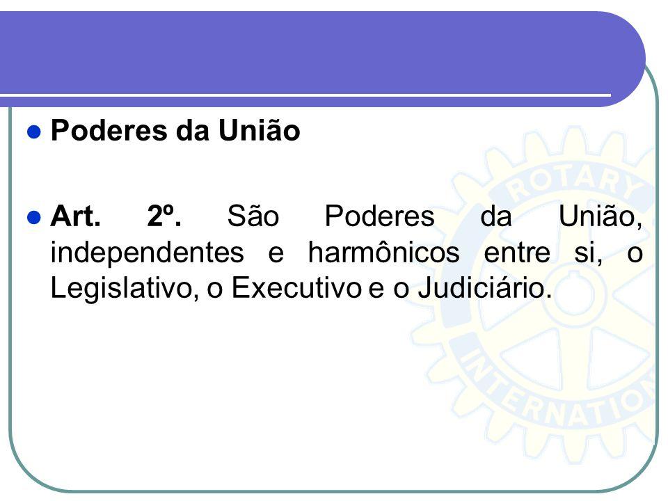 Poderes da União Art. 2º. São Poderes da União, independentes e harmônicos entre si, o Legislativo, o Executivo e o Judiciário.