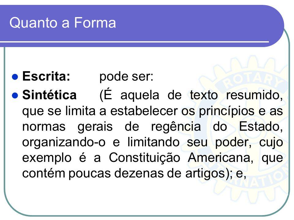 Quanto a Forma Escrita:pode ser: Sintética (É aquela de texto resumido, que se limita a estabelecer os princípios e as normas gerais de regência do Es