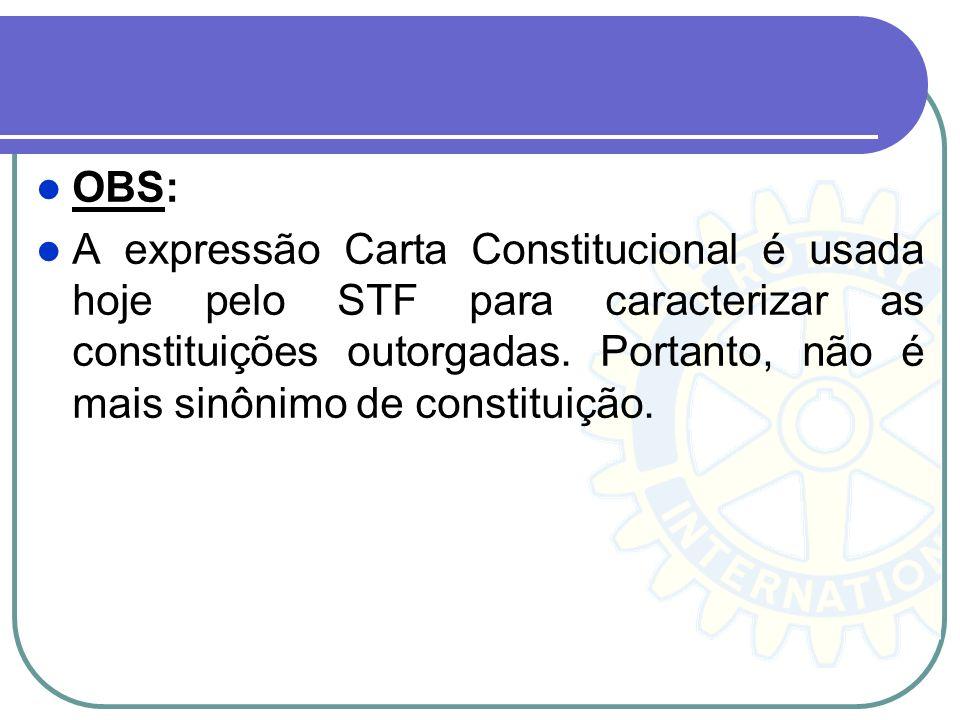 OBS: A expressão Carta Constitucional é usada hoje pelo STF para caracterizar as constituições outorgadas. Portanto, não é mais sinônimo de constituiç
