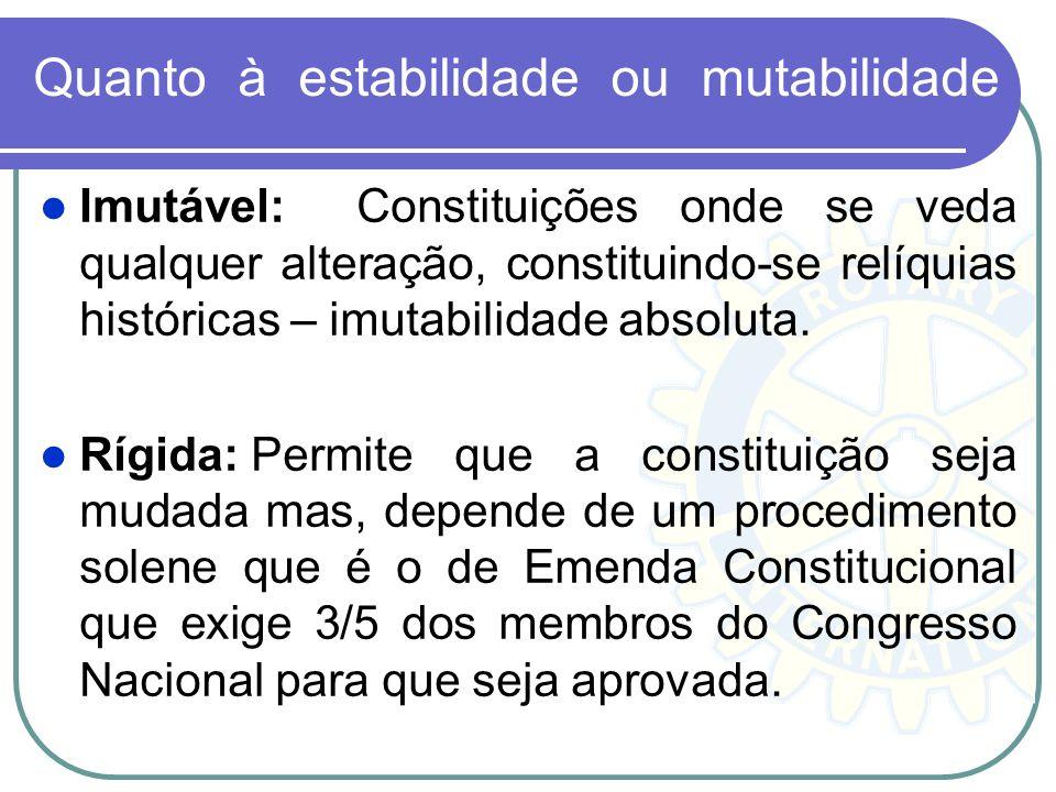 Quanto à estabilidade ou mutabilidade Imutável:Constituições onde se veda qualquer alteração, constituindo-se relíquias históricas – imutabilidade abs