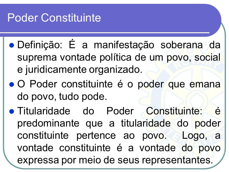 Poder Constituinte Definição: É a manifestação soberana da suprema vontade política de um povo, social e juridicamente organizado. O Poder constituint
