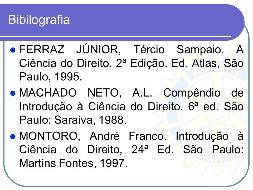 Bibilografia FERRAZ JÚNIOR, Tércio Sampaio. A Ciência do Direito. 2ª Edição. Ed. Atlas, São Paulo, 1995. MACHADO NETO, A.L. Compêndio de Introdução à