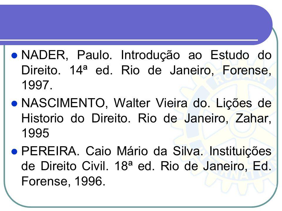 NADER, Paulo. Introdução ao Estudo do Direito. 14ª ed. Rio de Janeiro, Forense, 1997. NASCIMENTO, Walter Vieira do. Lições de Historio do Direito. Rio