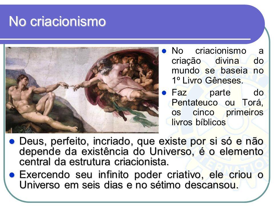 No criacionismo No criacionismo a criação divina do mundo se baseia no 1º Livro Gêneses. Faz parte do Pentateuco ou Torá, os cinco primeiros livros bí