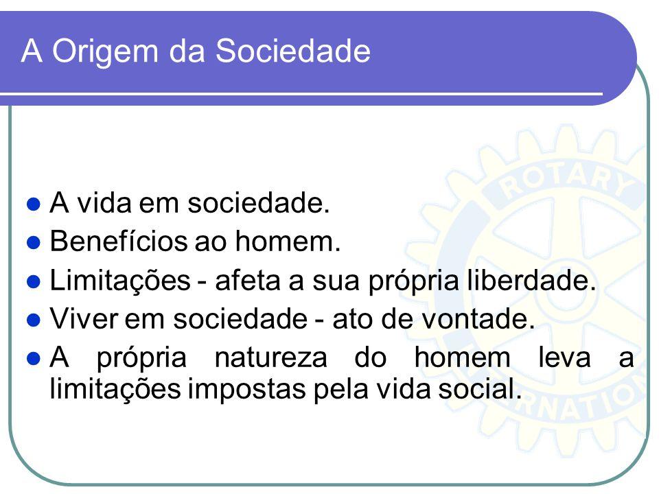 A Origem da Sociedade A vida em sociedade. Benefícios ao homem. Limitações - afeta a sua própria liberdade. Viver em sociedade - ato de vontade. A pró