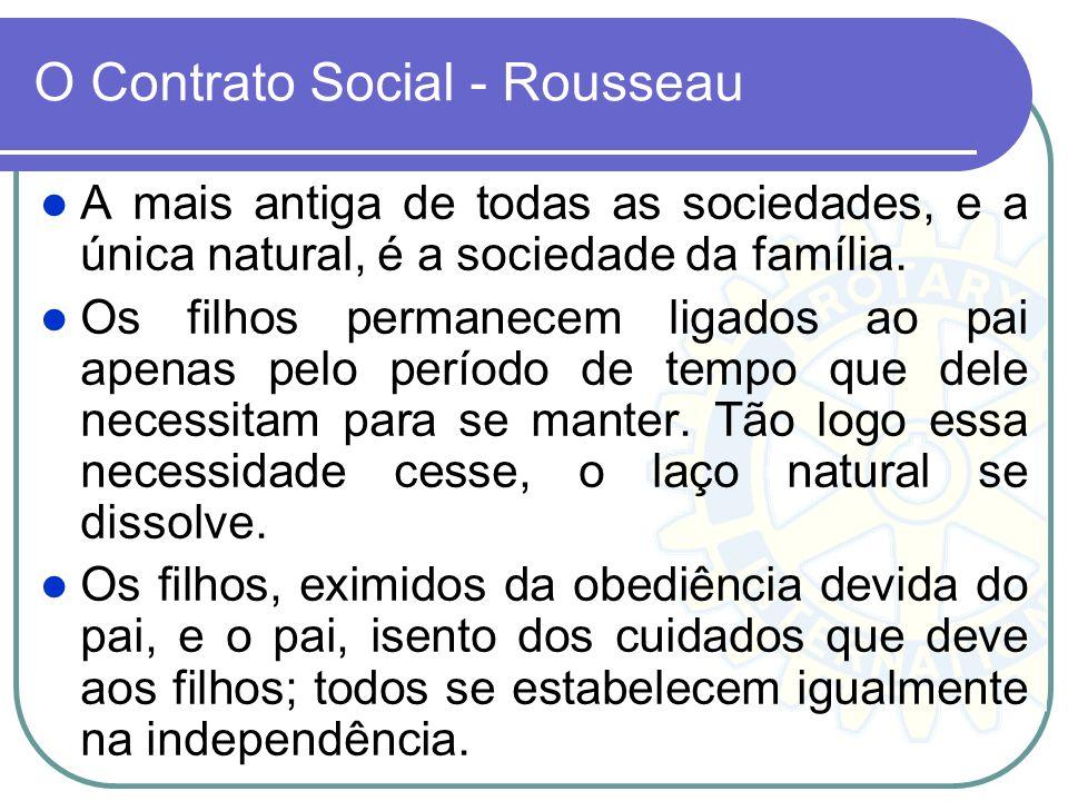 O Contrato Social - Rousseau A mais antiga de todas as sociedades, e a única natural, é a sociedade da família. Os filhos permanecem ligados ao pai ap