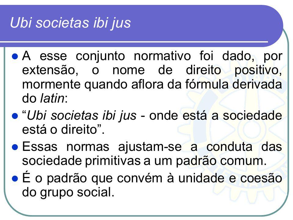 Ubi societas ibi jus A esse conjunto normativo foi dado, por extensão, o nome de direito positivo, mormente quando aflora da fórmula derivada do latin