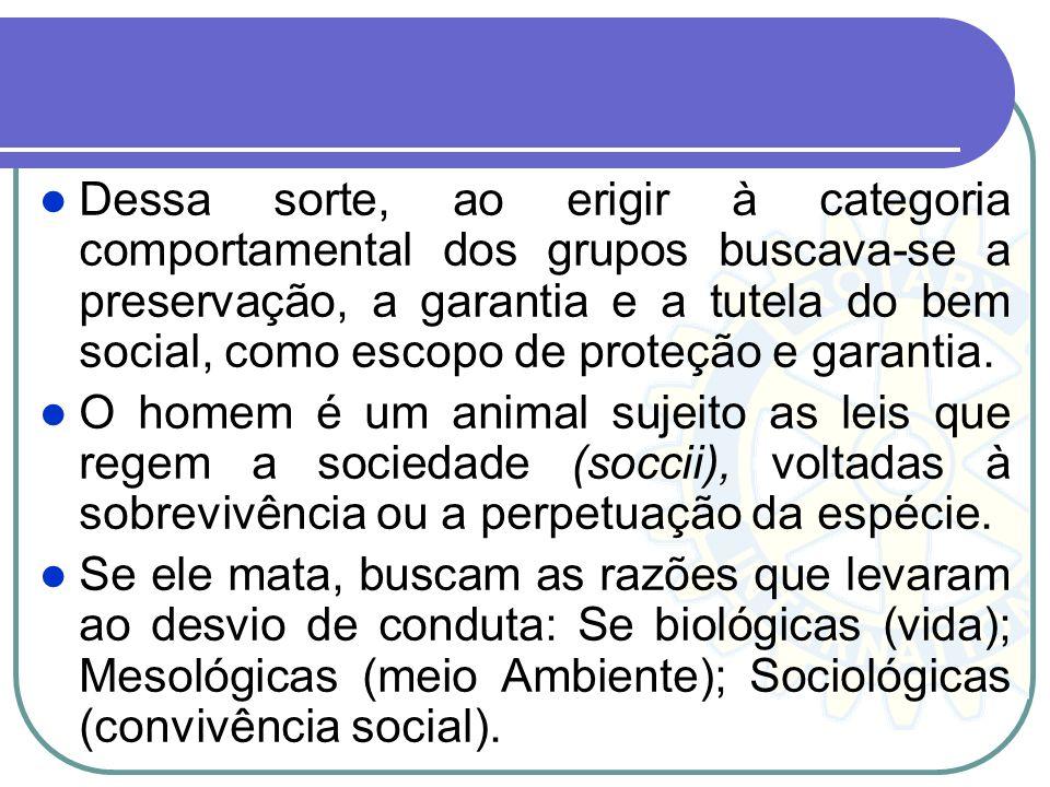 Dessa sorte, ao erigir à categoria comportamental dos grupos buscava-se a preservação, a garantia e a tutela do bem social, como escopo de proteção e