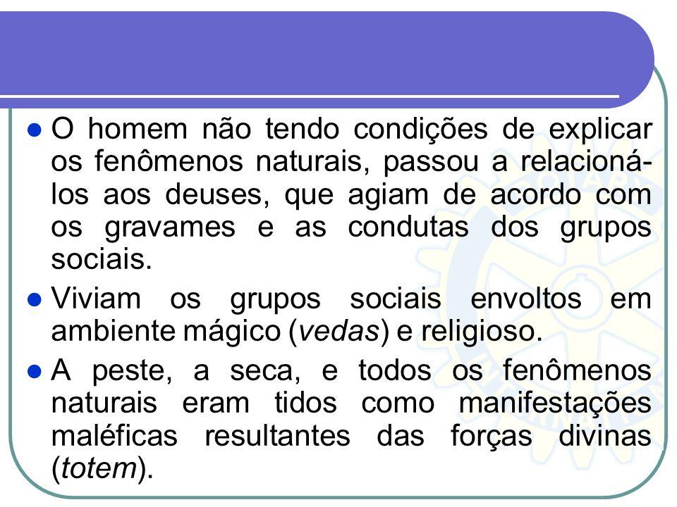 O homem não tendo condições de explicar os fenômenos naturais, passou a relacioná- los aos deuses, que agiam de acordo com os gravames e as condutas d