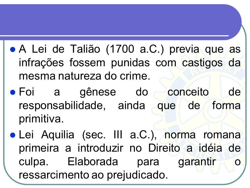 A Lei de Talião (1700 a.C.) previa que as infrações fossem punidas com castigos da mesma natureza do crime. Foi a gênese do conceito de responsabilida
