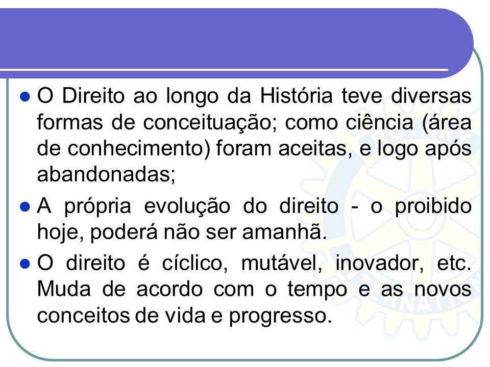 O Direito ao longo da História teve diversas formas de conceituação; como ciência (área de conhecimento) foram aceitas, e logo após abandonadas; A pró