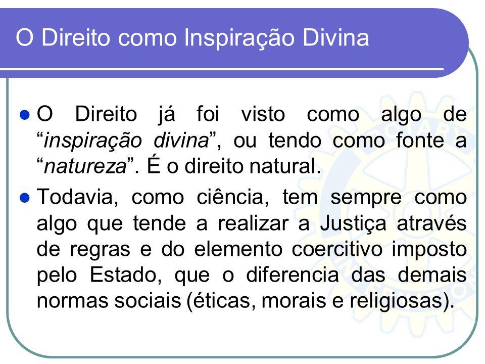 O Direito como Inspiração Divina O Direito já foi visto como algo deinspiração divina, ou tendo como fonte anatureza. É o direito natural. Todavia, co