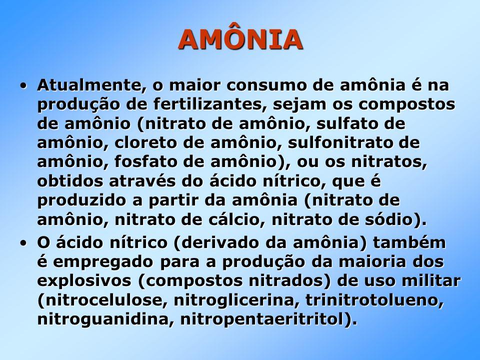 AMÔNIA Atualmente, o maior consumo de amônia é na produção de fertilizantes, sejam os compostos de amônio (nitrato de amônio, sulfato de amônio, clore