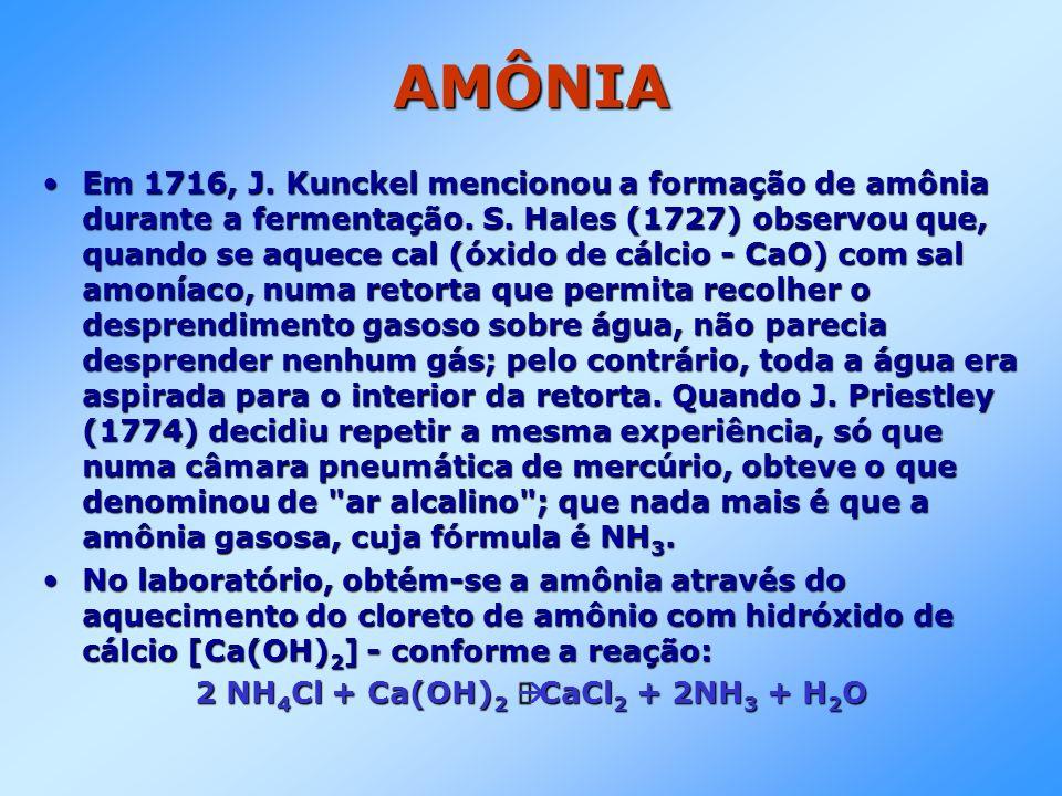 AMÔNIA Em 1716, J. Kunckel mencionou a formação de amônia durante a fermentação. S. Hales (1727) observou que, quando se aquece cal (óxido de cálcio -