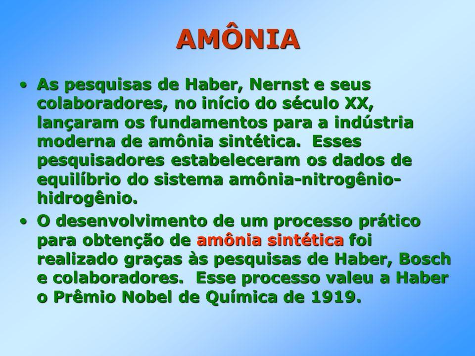 AMÔNIA As pesquisas de Haber, Nernst e seus colaboradores, no início do século XX, lançaram os fundamentos para a indústria moderna de amônia sintétic