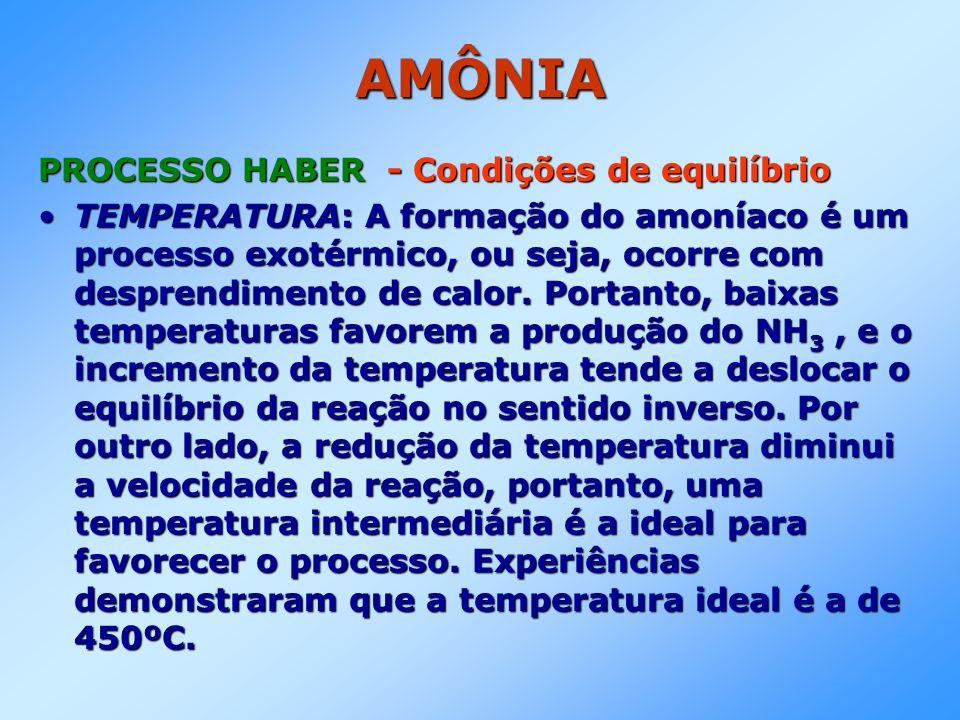 AMÔNIA PROCESSO HABER - Condições de equilíbrio TEMPERATURA: A formação do amoníaco é um processo exotérmico, ou seja, ocorre com desprendimento de ca
