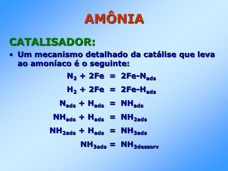 AMÔNIA CATALISADOR: Um mecanismo detalhado da catálise que leva ao amoníaco é o seguinte:Um mecanismo detalhado da catálise que leva ao amoníaco é o s