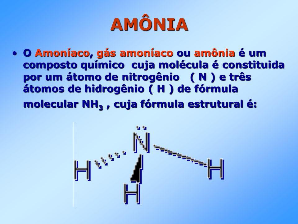 AMÔNIA O Amoníaco, gás amoníaco ou amônia é um composto químico cuja molécula é constituida por um átomo de nitrogênio ( N ) e três átomos de hidrogên