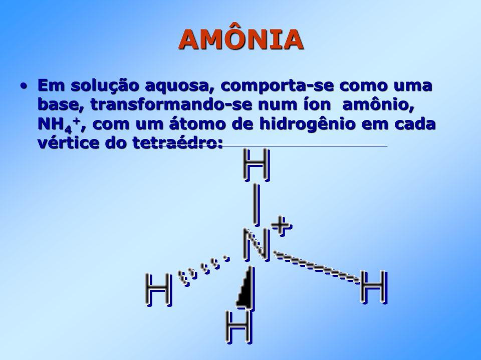 AMÔNIA Em solução aquosa, comporta-se como uma base, transformando-se num íon amônio, NH 4 +, com um átomo de hidrogênio em cada vértice do tetraédro: