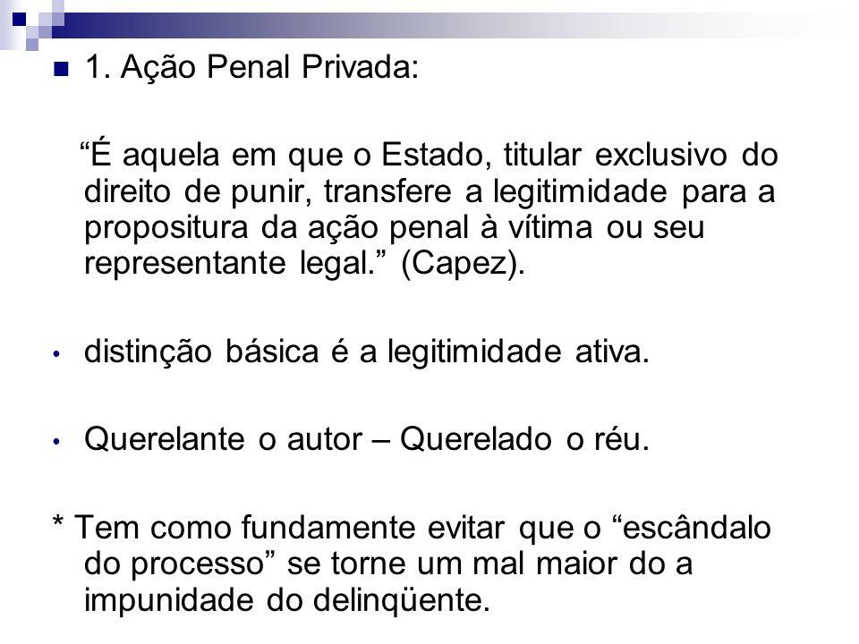 1. Ação Penal Privada: É aquela em que o Estado, titular exclusivo do direito de punir, transfere a legitimidade para a propositura da ação penal à ví