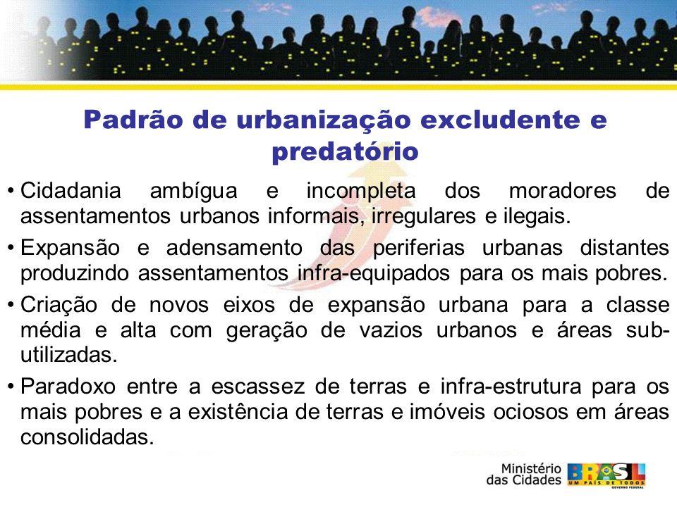 Insustentabilidade da urbanização excludente e predatória Depredação dos recursos naturais.