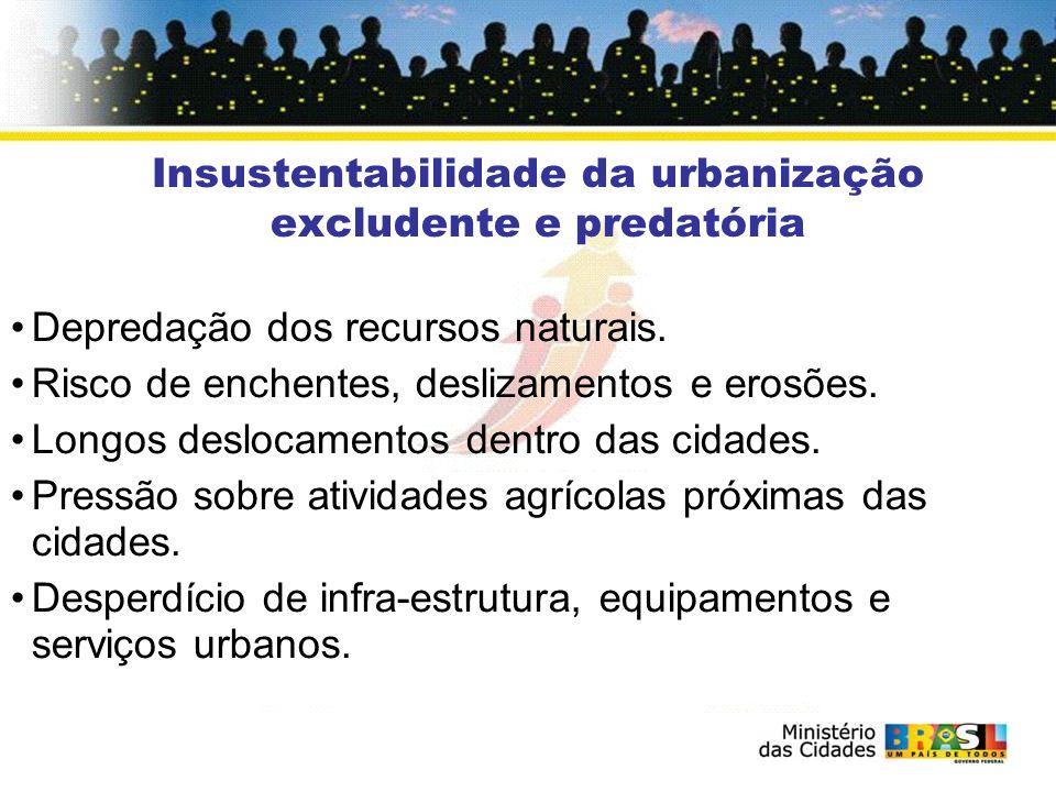 Insustentabilidade da urbanização excludente e predatória Depredação dos recursos naturais. Risco de enchentes, deslizamentos e erosões. Longos desloc